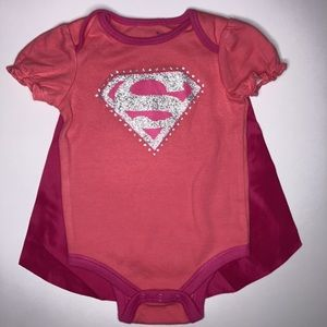 Super Girl Onesie With Cape And Ruffled Sleeves
